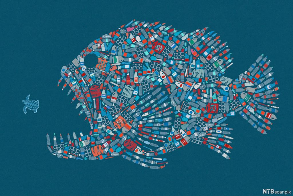 Plastemballasje formet som en rovfisk åpner gapet mot en havskilpadde. Illustrasjon.