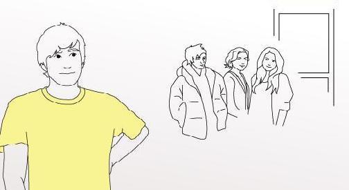 Mann som står for seg selv med en gruppe i bakgrunnen. Illustrasjon