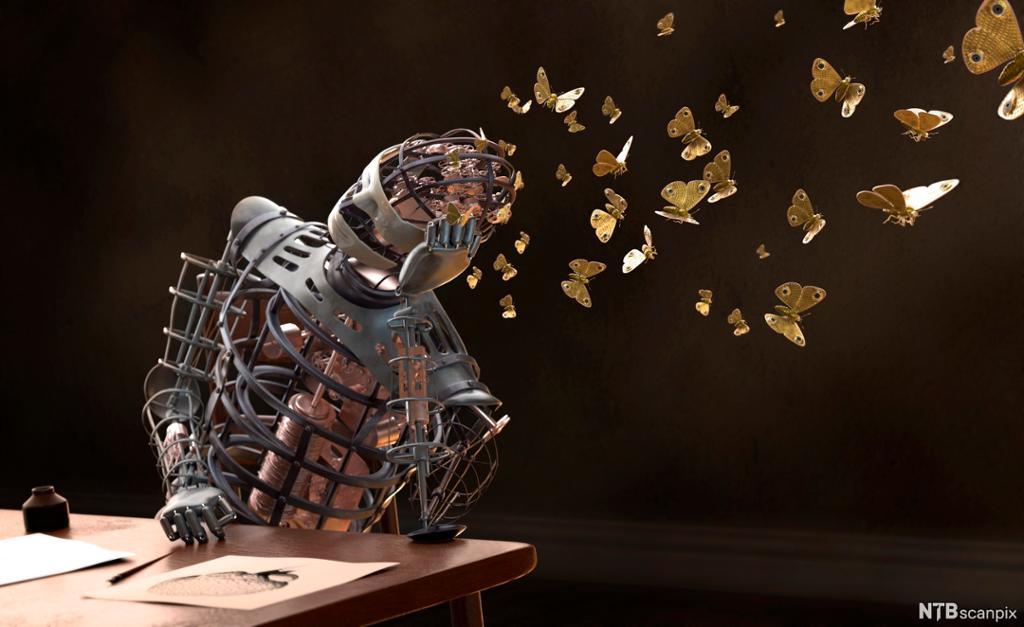 En robot formet som et sjellett av jern. Tanker flyr ut av hodet som gylne sommerfugler. Digitalt foto.