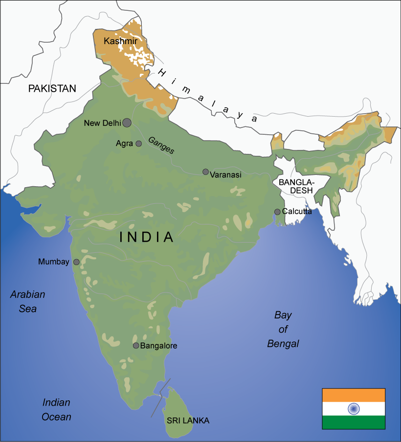 Map over India. Illustration.
