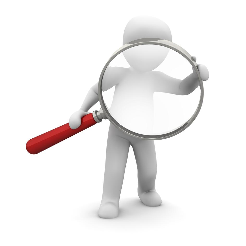 Person holding a magnifying glass. Illustration.