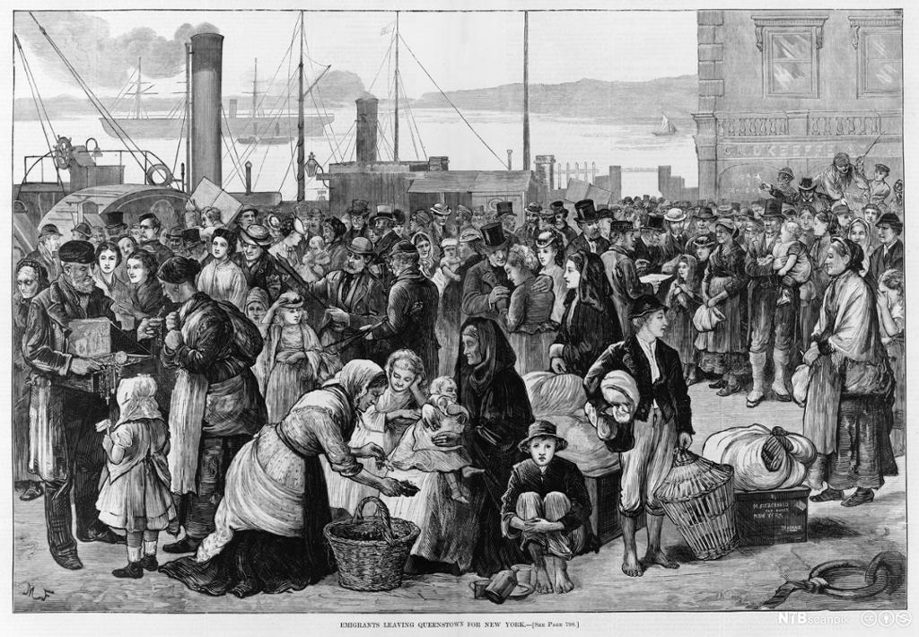 19th-century illustration of emigrants leaving Queenstown in Ireland