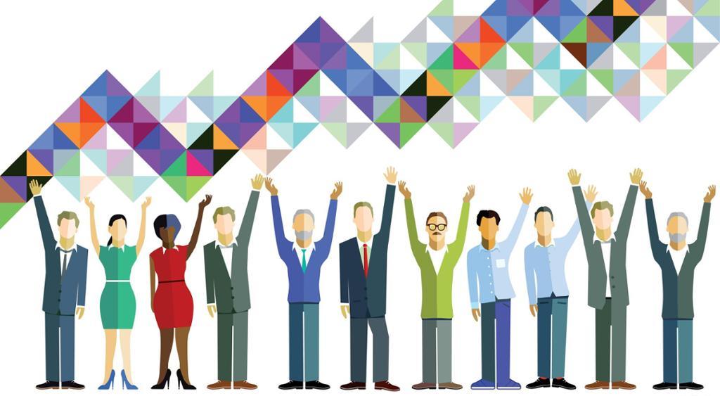 Forretningsfolk feirer felles arbeidsinnsats. Illustrasjon