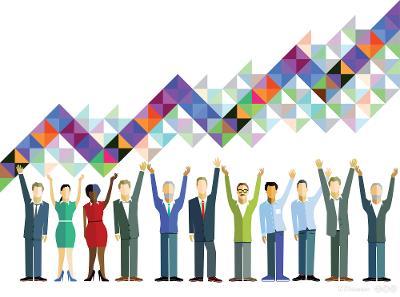 Forretningsfolk feirer felles arbeidsinnsats. Illustrasjon.