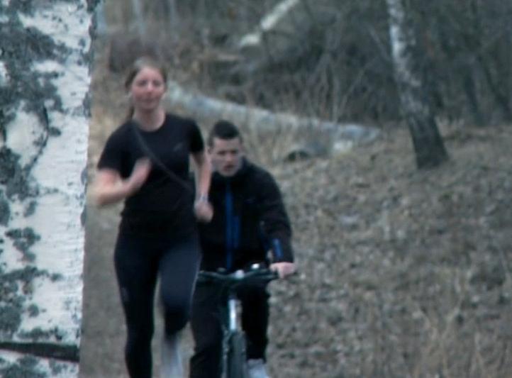 Jogging og sykling. Foto.