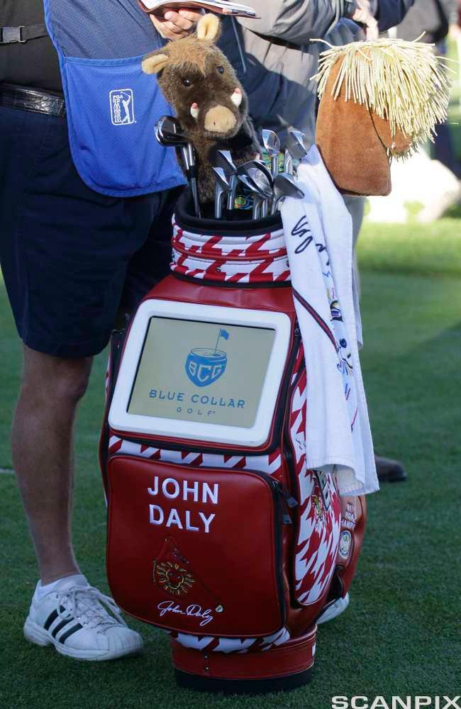 The golf bag of John Daly with a built in video screen that runs advertisements, was seen on the Spyglass Hill course during the