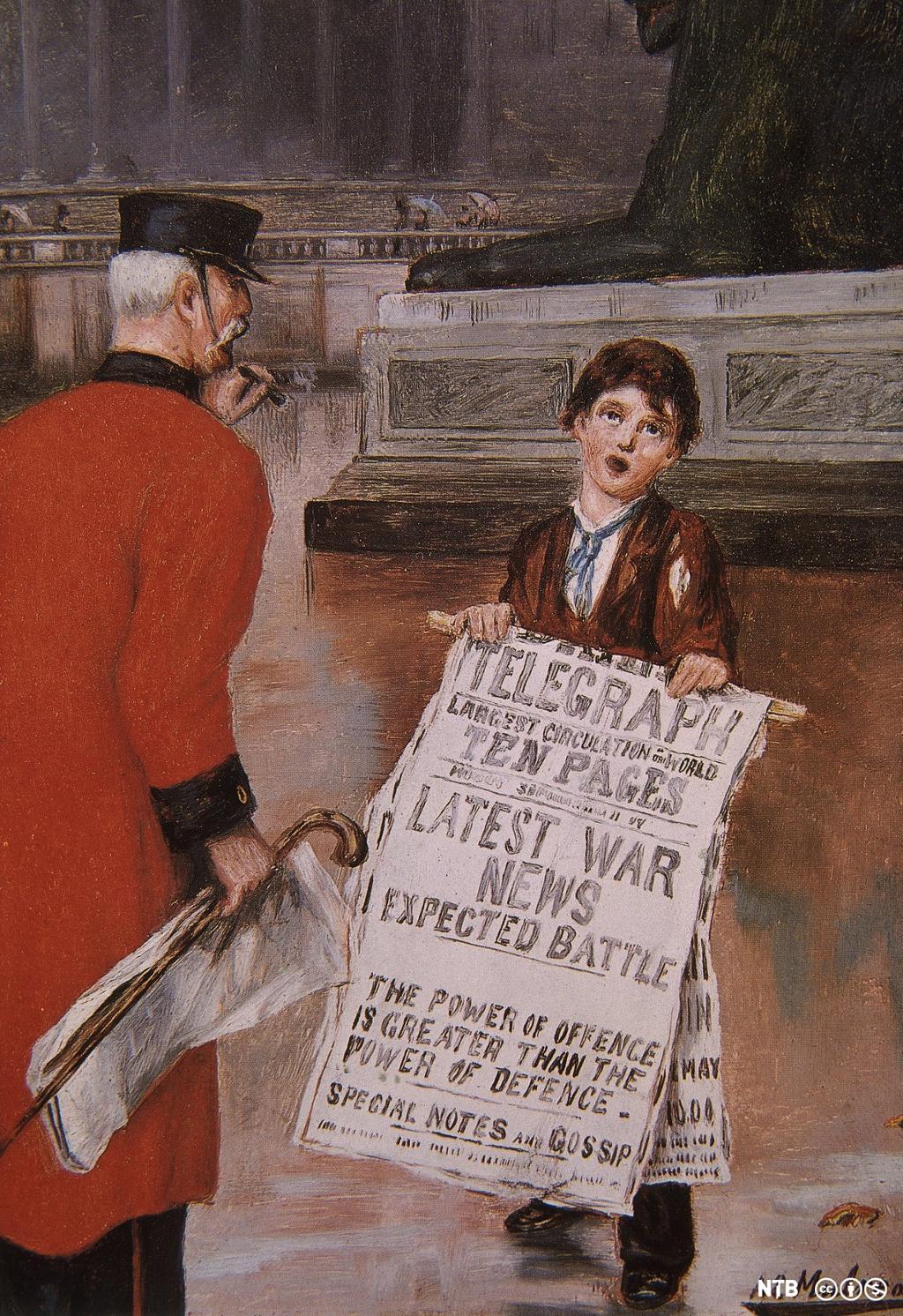 En gutt med plakat som reklamerer for avisen The Daily Telegraph. Maleri.