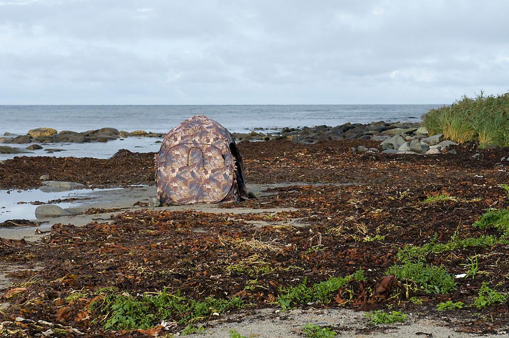 Et telt som ser ut som en stein.