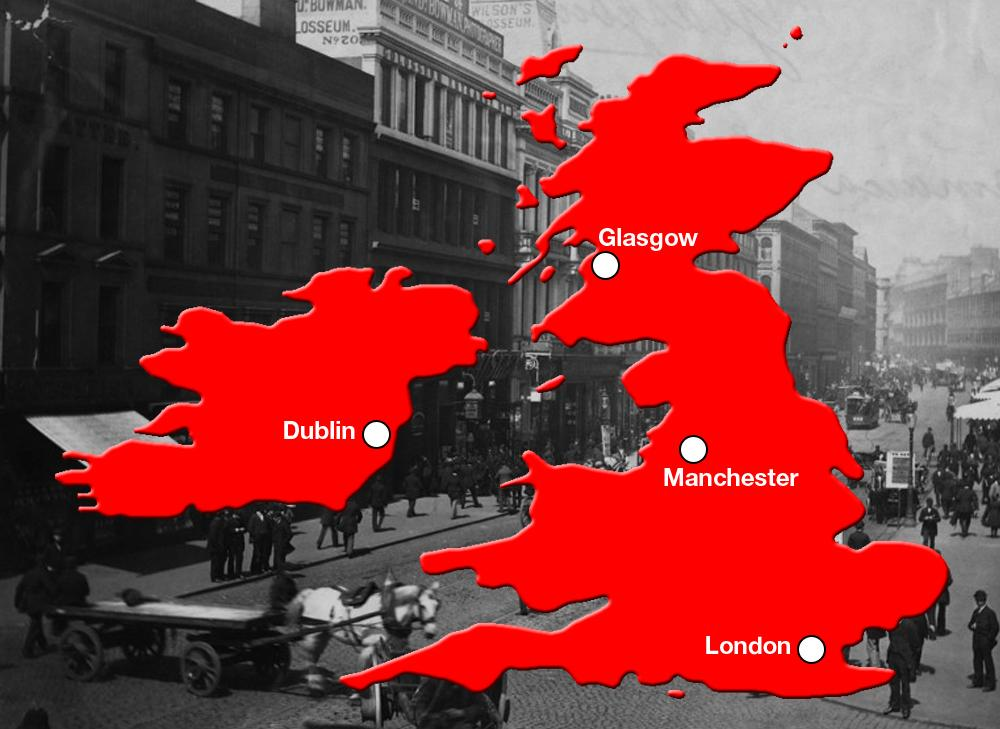Kart som viser hovedseter for den industrielle revolusjonen i Storbritannia.