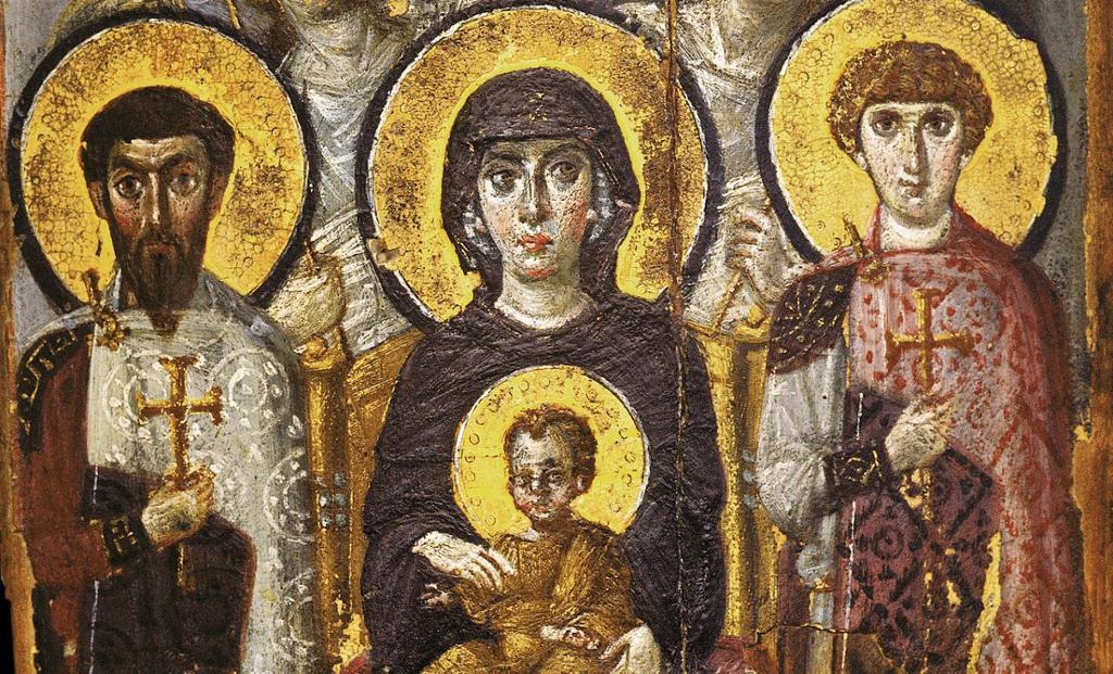 Et ikon som viser Madonna med Jesusbarnet på fanget. Ved siden av henne står to helgener, og bak henne står to engler. Maleri.