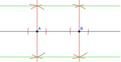 Bilde av to konstuerte paralelle linjer. Illustrasjon