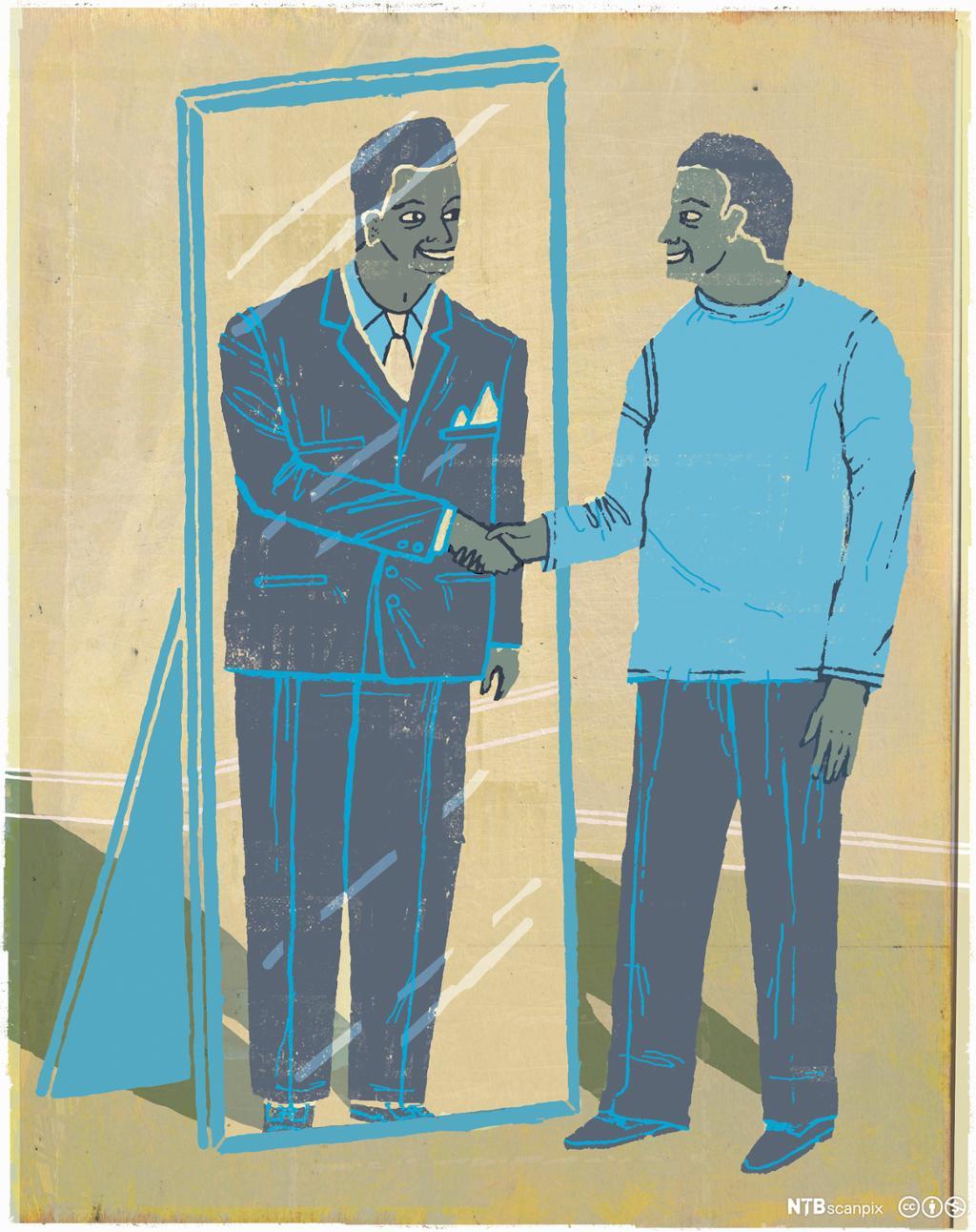 En illustrasjon av en mann som øver foran et speil.