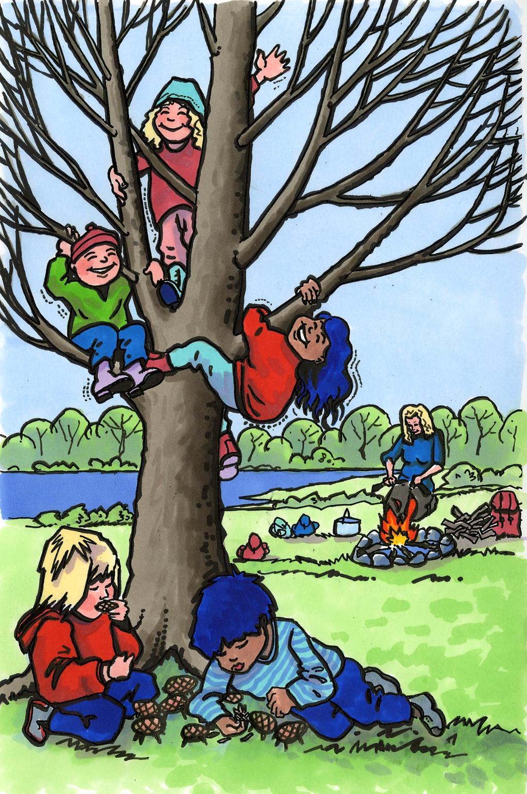 tegningen viser barn som klatrer i tre