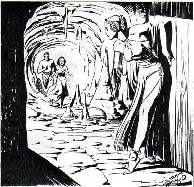 Flash Gordon av Alex Raymond, kvinne i hule og mennesker i huleinngangen. illustrasjon.