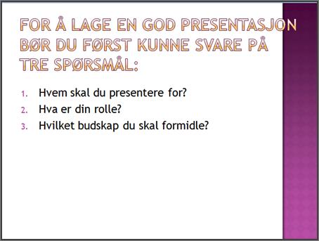 Eksempel på et enkelt lysbilde i PowerPoint