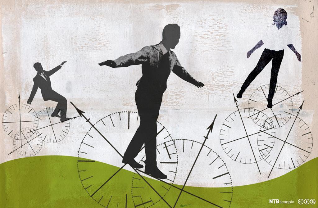 Personer som balanserer på kompasshjul. Illustrasjon.