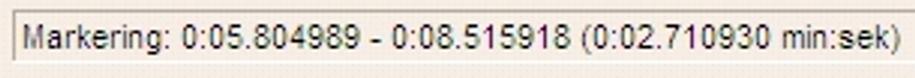 "Teksten ""Markering 0:05.804989-0:08.515918 (0:02.710930 min:sek). Skjermdump."
