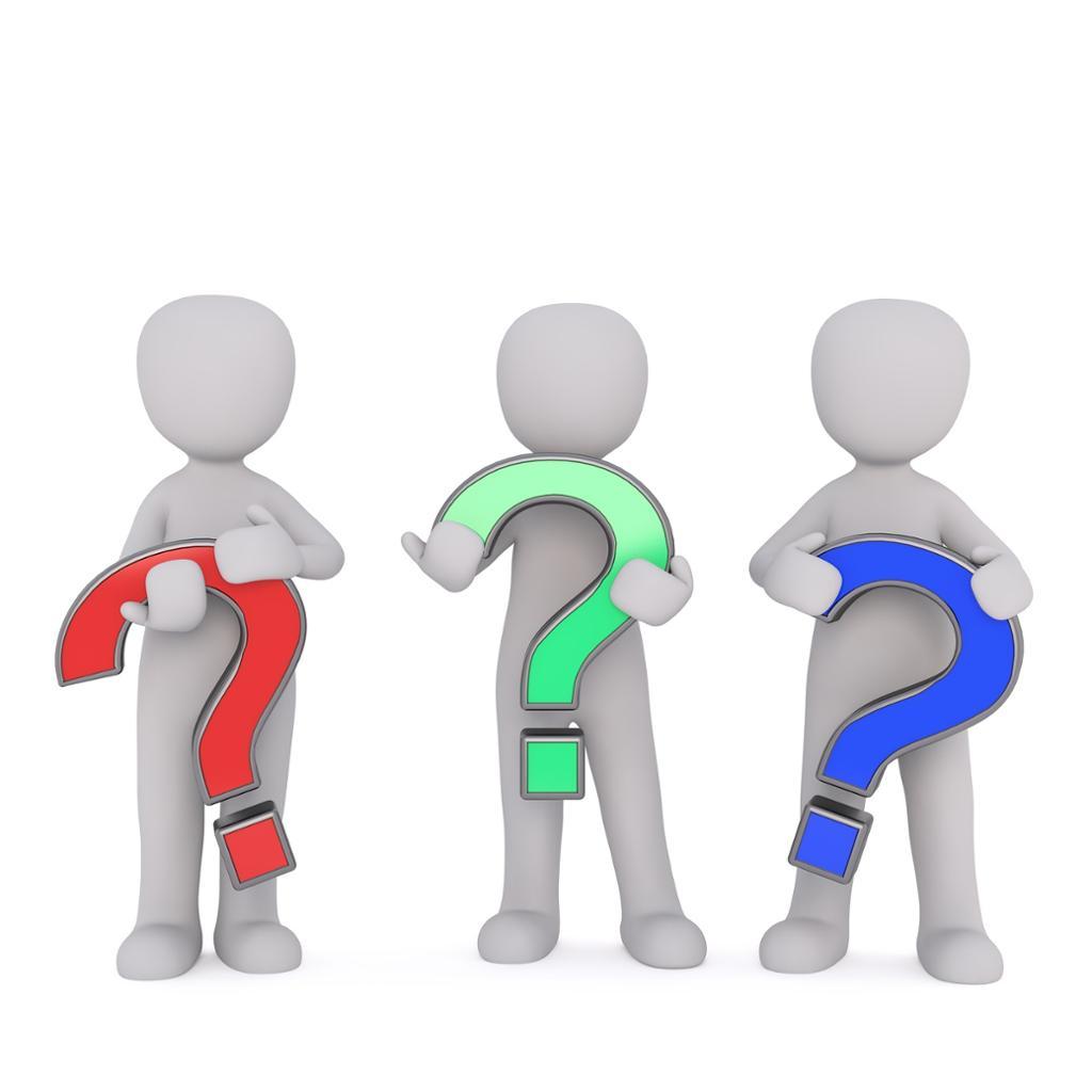 Three persons holding question marks. Illustrasjon.