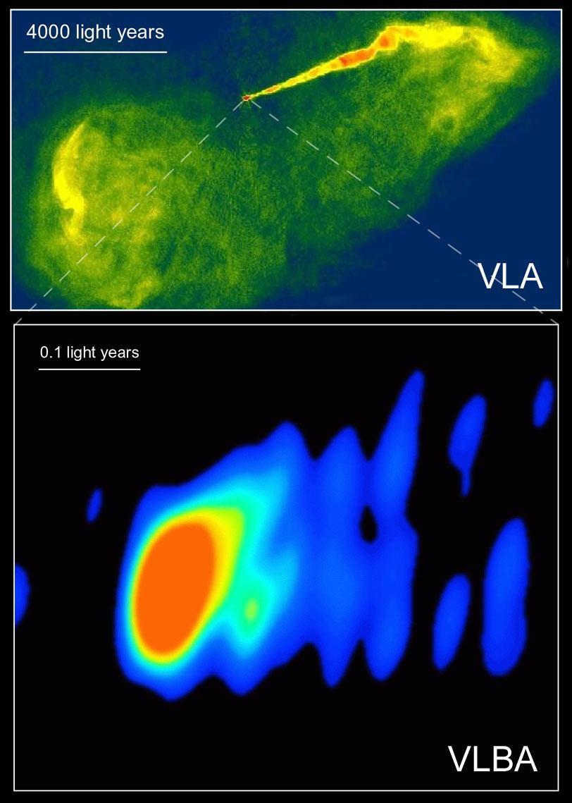 To bilder som viser flere detaljer fra M87.