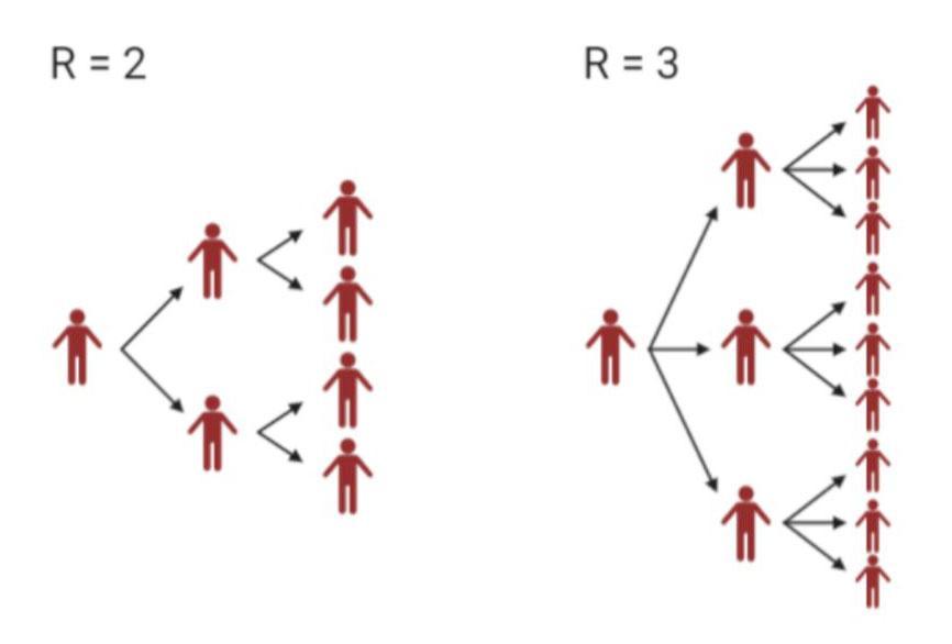 Plansje som viser kor mange personar ein smitta person smittar. Illustrasjon.