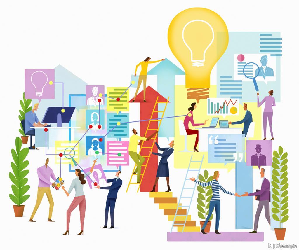 Menneske som samarbeider om å skape idear. Illustrasjon.