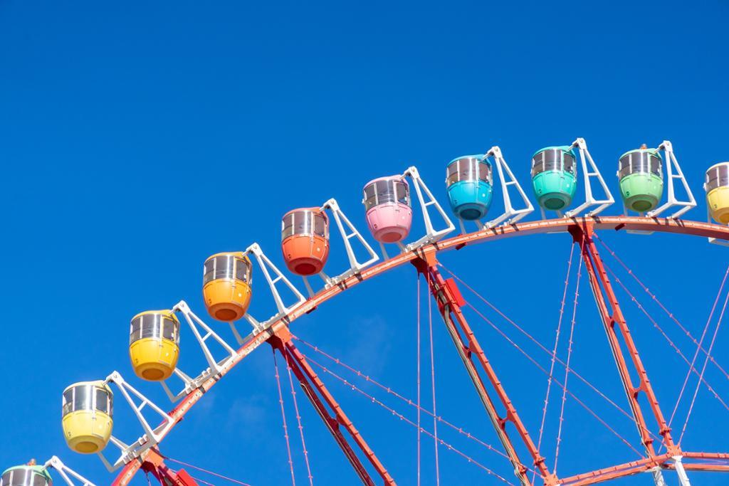 A colourful ferris wheel. Photo.