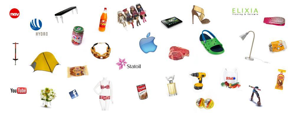 Bilde av forskjellige produkter. Illustrasjon.