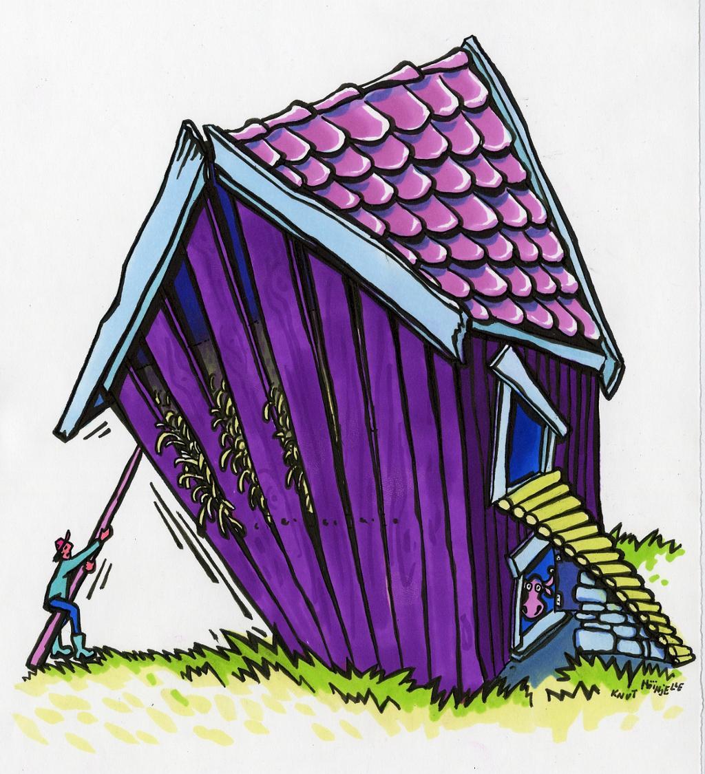 Hus som holder på å falle. Illustrasjon.