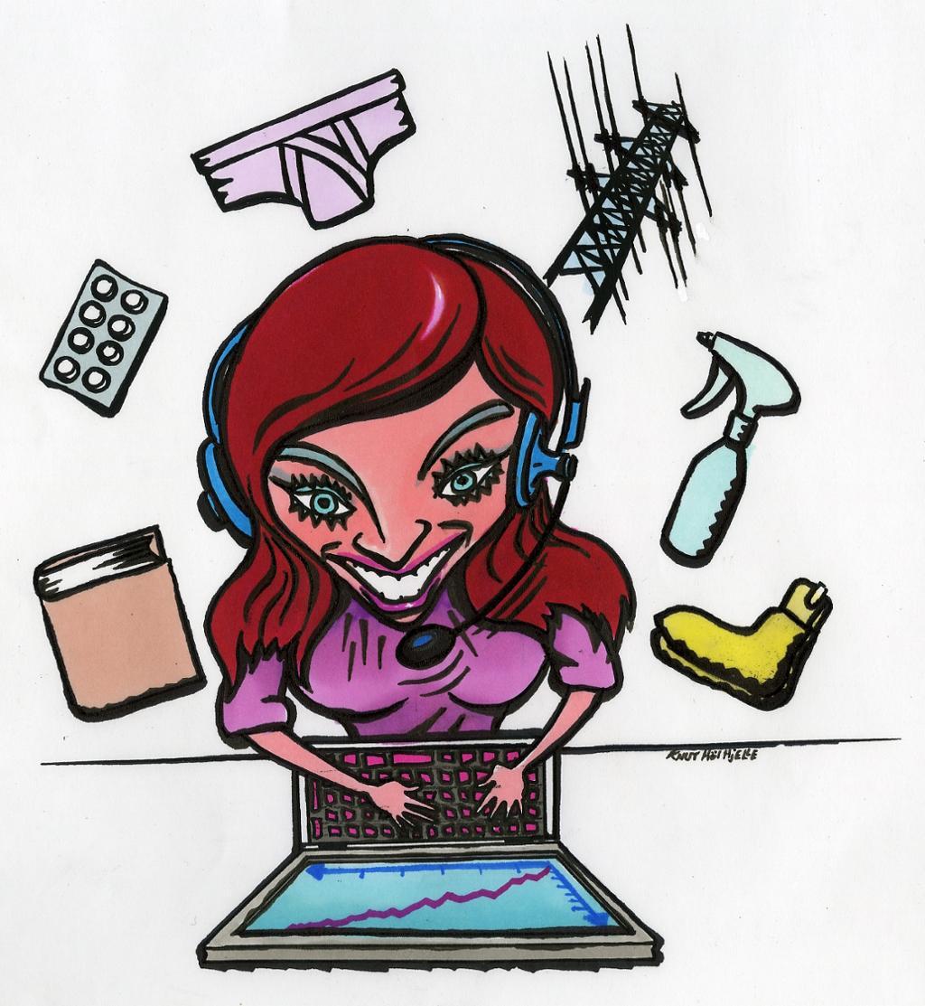 En ung dame er på jobb som telefonselger og sitter foran en PC med hodetelefoner. Rundt henne er det sko, bok, strømnett, undertøy og en sprayflaske. Tegning.