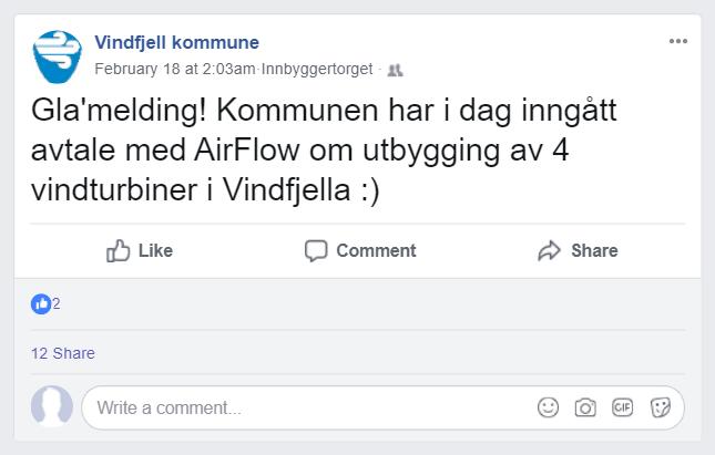 Facebook-post med melding om at en fiktiv kommune har inngått avtale om utbygging av vindturbiner. Illustrasjon.