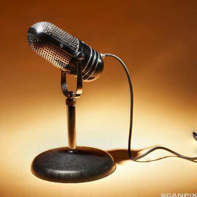 Retro mikrofon i mørk metallfarge på et bordstativ. Foto.