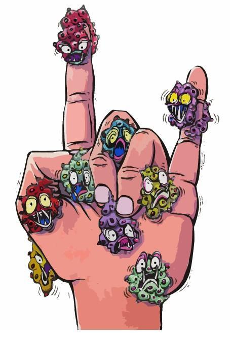 Hånd med mikroorganismer. Illustrasjon.