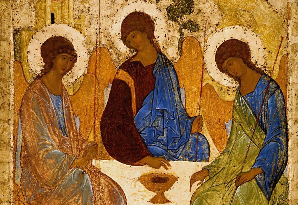 Tre engler sitter rundt et bord. Maleri.