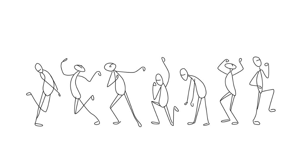 Strekmennesker som har ulike bevegelser.