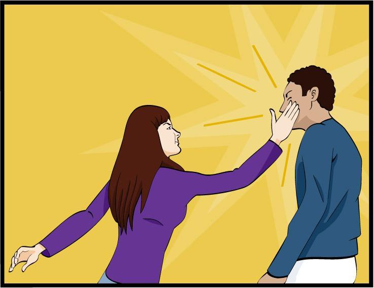 Kvinne slår mann. Illustrasjon.