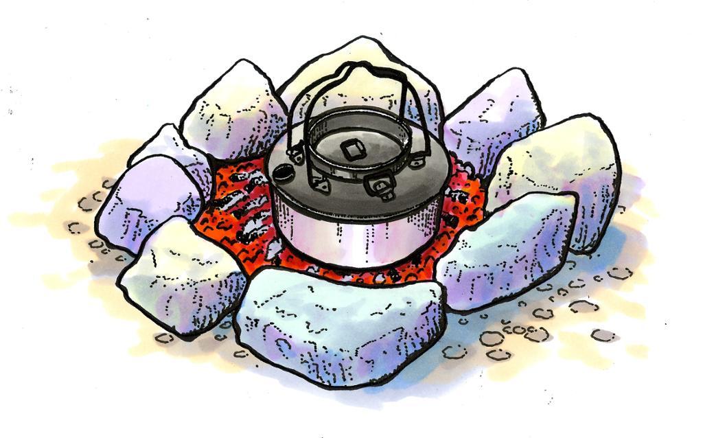 Kokehullbål. Illustrasjon.