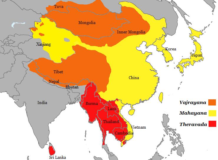 Kart over Asia som viser geografisk utbredelse av vajrayana, mahayana og theravada.