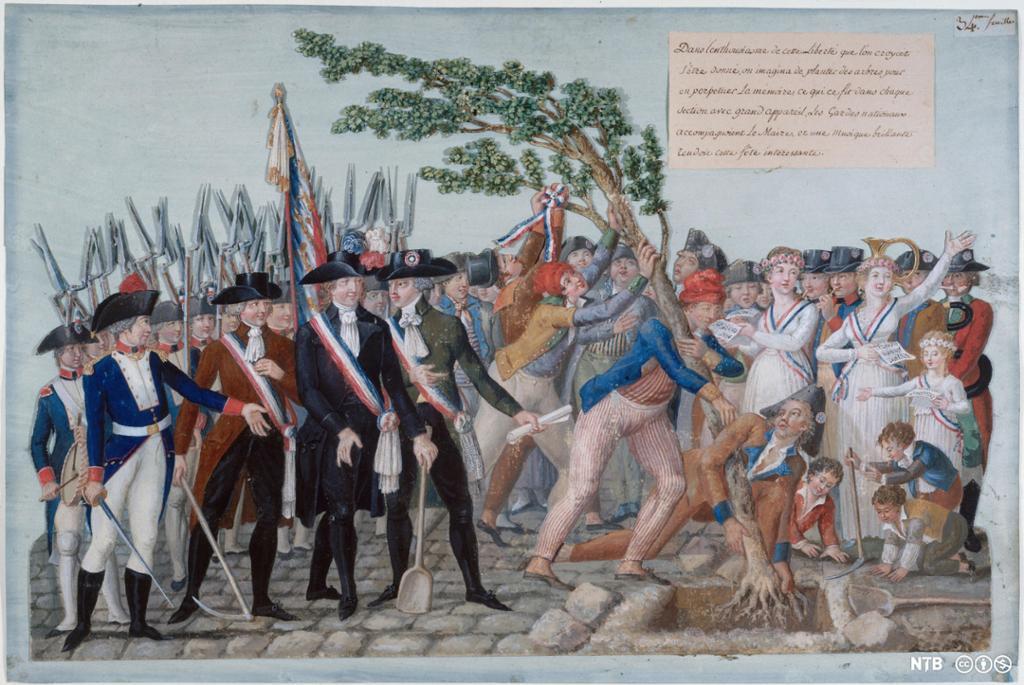 Soldater med gevær og en gruppe mennesker med løpesedler i hånda som reiser et tre som skal symbolisere frihet. Illustrasjon.