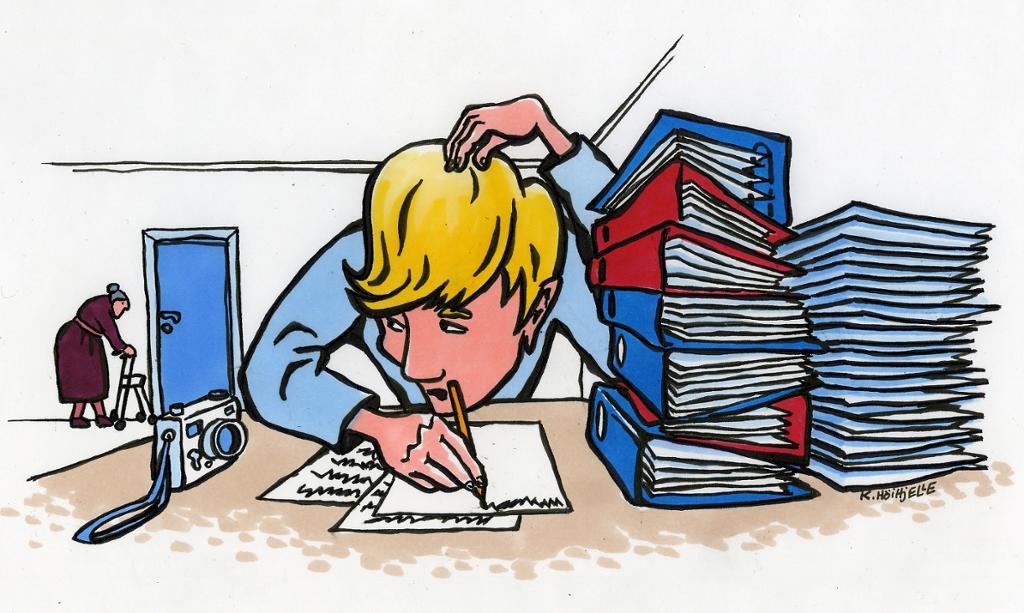 Tegning av gutt som skriver. Illustrasjon.