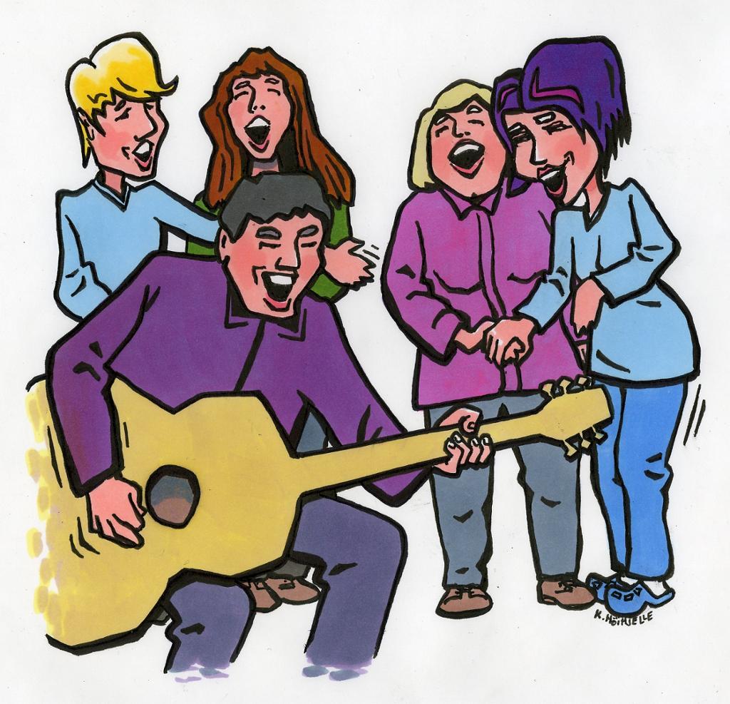 Fem personer synger og viser glede. Illustrasjon.
