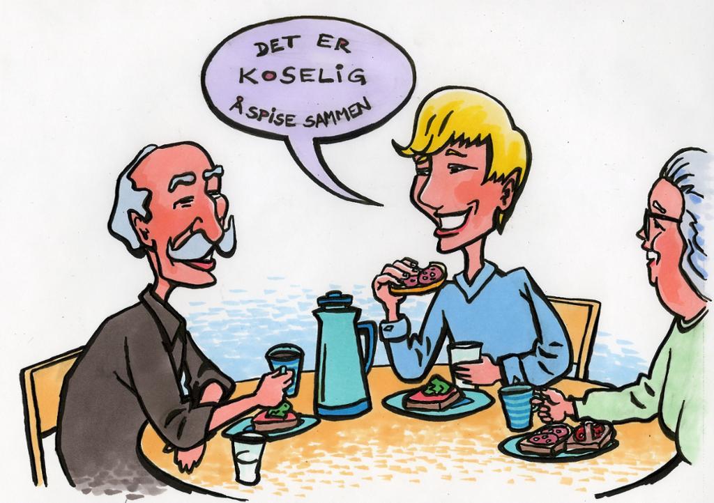 Tre mennesker som spiser sammen. Illustrasjon.