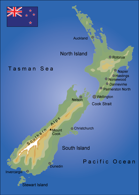 Map of New Zealand. Illustration.