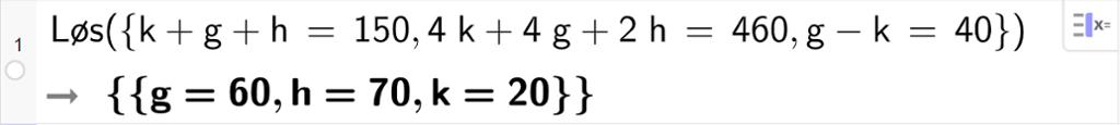 CAS-utregning med GeoGebra. På linje 1 er det skrevet Løs parentes sløyfeparentes k pluss g pluss h er lik 150 komma, 4 k pluss 4 g pluss 2 h er lik 460, g minus k er lik 40 sløyfeparentes slutt parentes slutt. Svaret er g er lik 60 og h er lik 70 og k er lik 20. Skjermutklipp.