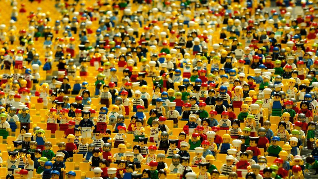 A collection of Lego figurines. Photo.