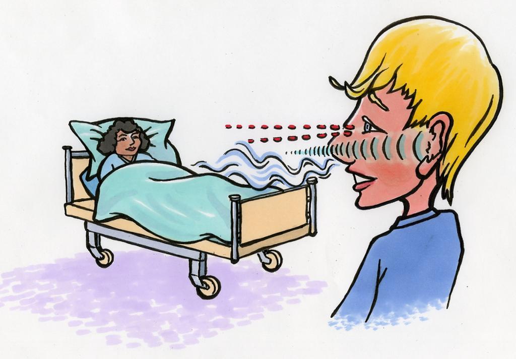 Pleier observerer pasient. Illustrasjon.