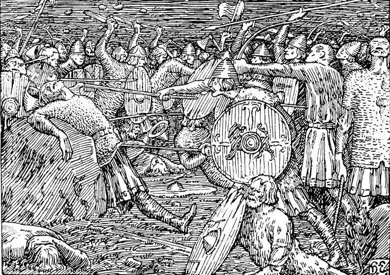 Olav den hellige blir drept på Stiklestad. Illustrasjon