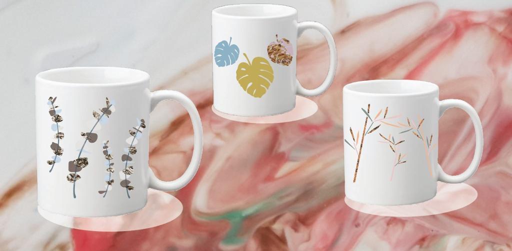 Tre kopper med dekor. Illustrasjon.