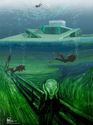 Maleri som viser et undervannslandskap. I bakgrunnen operabygningen i Oslo, i forgrunnen motivet fra maleriet Skrik av Edvard Munch. Fargene på bildet er skitne grønn- og blåtoner..