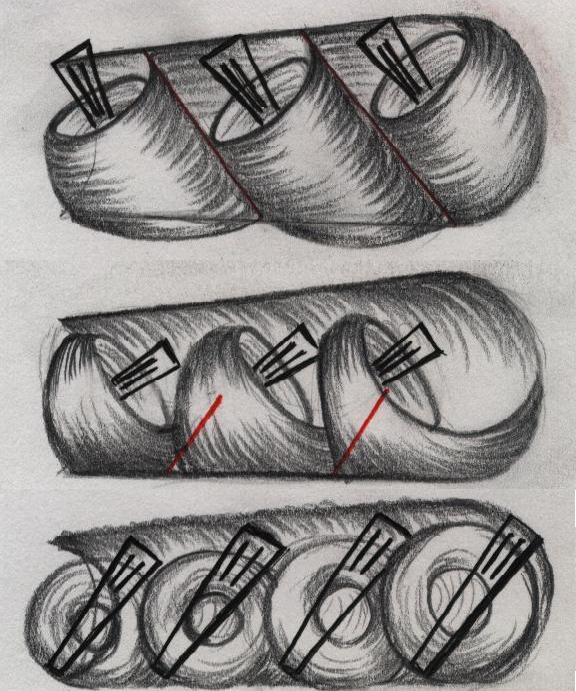 Skjema over feste av kliper ved oppsett av hår. tegning.