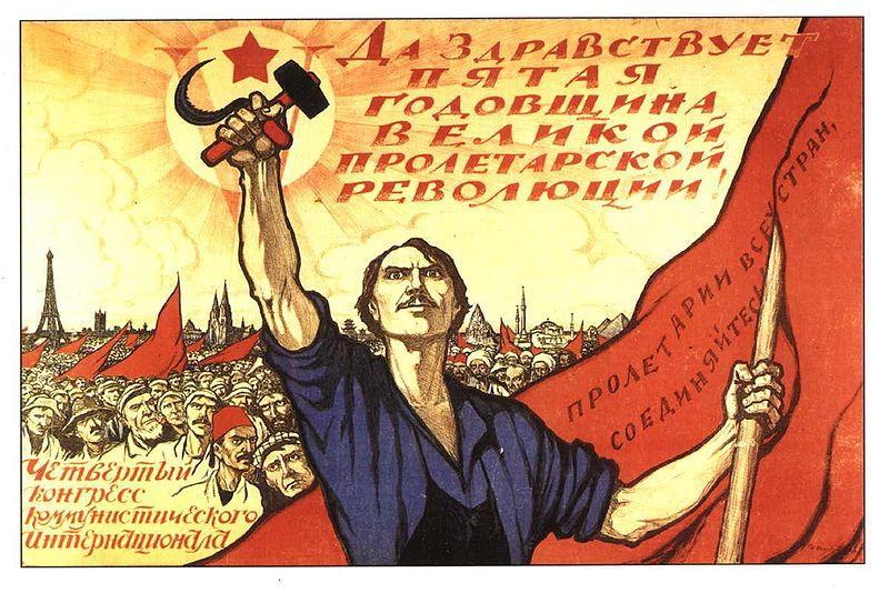 Sovjetisk propagandaplakat for verdensrevolusjonen 1922
